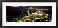 Framed Red Square at night, Kremlin, Moscow, Russia