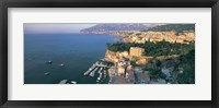 Framed High angle view of a town at the coast, Sorrento, Naples, Campania, Italy