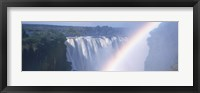 Framed Rainbow over a waterfall, Victoria Falls, Zambezi River, Zimbabwe