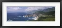 Framed Rock formations on the beach, Bixby Bridge, Pacific Coast Highway, Big Sur, California, USA