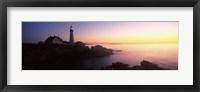 Framed Lighthouse on the coast, Portland Head Lighthouse built 1791, Cape Elizabeth, Cumberland County, Maine, USA