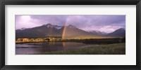 Framed Double rainbow over mountain range, Alberta, Canada