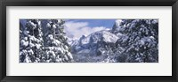 Framed Mountains and waterfall in snow, Tunnel View, El Capitan, Half Dome, Bridal Veil, Yosemite National Park, California