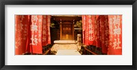 Framed Entrance of a shrine lined with flags, Tokyo Prefecture, Japan
