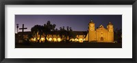 Framed Mission lit up at night, Mission Santa Barbara, Santa Barbara, Santa Barbara County, California, USA