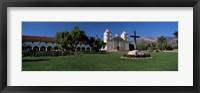Framed Cross with a church in the background, Mission Santa Barbara, Santa Barbara, California, USA