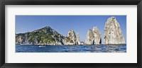Framed Rock formations in the sea, Faraglioni, Capri, Naples, Campania, Italy