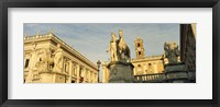 Framed Low angle view of a statues in front of a building, Piazza Del Campidoglio, Palazzo Senatorio, Rome, Italy