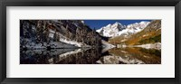 Framed Reflection of snowy mountains in the lake, Maroon Bells, Elk Mountains, Colorado, USA