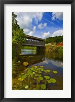 Framed Covered bridge across a river, Vermont, USA