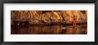 Framed Paddle-boarder in river, Santa Barbara, California, USA