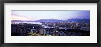 Framed Aerial view of cityscape at sunset, Vancouver, British Columbia, Canada 2011
