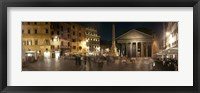Framed Town square with buildings lit up at night, Pantheon Rome, Piazza Della Rotonda, Rome, Lazio, Italy