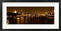 Framed View of Thames River from Waterloo Bridge at night, London, England