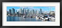 Framed Boats at marina with Vancouver skylines in the background, False Creek, British Columbia, Canada