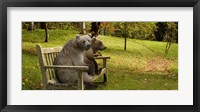 Framed Bears sitting on a bench