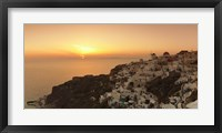 Framed Village on a cliff, Oia, Santorini, Cyclades Islands, Greece