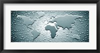 Framed Water drops forming continents (black and white)