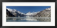 Framed Johns Hopkins Glacier in Glacier Bay National Park, Alaska, USA