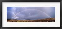 Framed Rainbow above Fernworthy Forest, Dartmoor, Devon, England