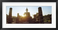 Framed Statue of Buddha at sunset, Sukhothai Historical Park, Sukhothai, Thailand
