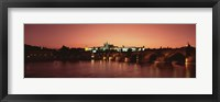 Framed Bridge with a church and castle, Charles Bridge, St. Vitus Cathedral, Hradcany Castle, Prague, Czech Republic
