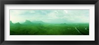 Framed Aerial View Of Green Misty Landscape, Autana Tepuy, Venezuela
