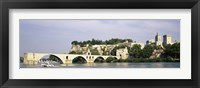 Framed Castle at the waterfront, Pont Saint-Benezet, Palais des Papes, Avignon, Vaucluse, France
