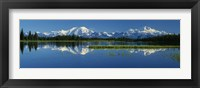 Framed Reflection Of Mountains In Lake, Mt Foraker And Mt Mckinley, Denali National Park, Alaska, USA