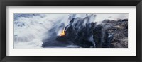 Framed High angle view of lava flowing into the Pacific Ocean, Volcano National Park, Hawaii, USA
