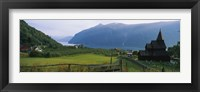 Framed Church in a village, Urnes stave church, Lustrafjorden, Luster, Sogn Og Fjordane, Norway