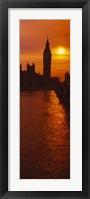 Framed Silhouette of a government building and a clock tower at sunset, Big Ben, House of Parliament, London, England