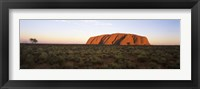 Framed Landscape with sandstone formation at dusk, Uluru, Uluru-Kata Tjuta National Park, Northern Territory, Australia