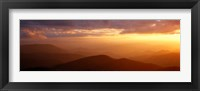 Framed Mountains, Sunset, Blue Ridge Parkway, Great Smoky Mountains, North Carolina, USA