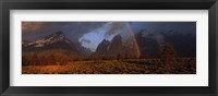 Framed Sunrise & rainbow Grand Teton National Park WY USA