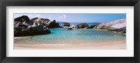 Framed British Virgin Islands, Virgin Gorda, The Baths, Rock formation in the sea