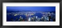 Framed Hong Kong with Bright Blue Night Sky, China