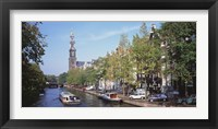 Framed Church along a channel in Amsterdam Netherlands