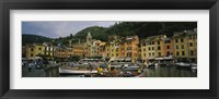 Framed Fishing boats at the harbor, Portofino, Italy
