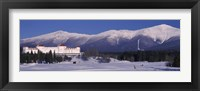 Framed Hotel near snow covered mountains, Mt. Washington Hotel Resort, Mount Washington, Bretton Woods, New Hampshire, USA