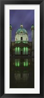 Framed Facade of St. Charles Church at Night, Vienna, Austria (vertical)