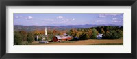 Framed High angle view of barns in a field, Peacham, Vermont