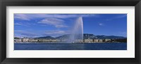 Framed Fountain in front of buildings, Jet D'eau, Geneva, Switzerland