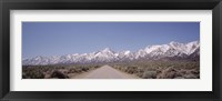 Framed USA, California, Sierra Nevada, Bushes on both sides of a road