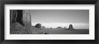 Framed Rock Formations, Monument Valley, Arizona, USA (black & white)