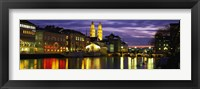 Framed Reflection of night lights in River Limmat Zurich Switzerland