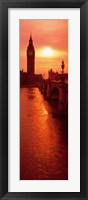 Framed Big Ben at dusk, London England
