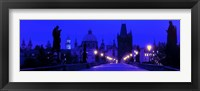 Framed Charles Bridge, Prague, Czech Republic, Bright Blue