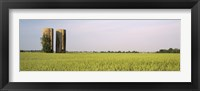 Framed USA, Arkansas, View of grain silos in a field