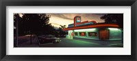 Framed Restaurant lit up at dusk, Route 66, Albuquerque, Bernalillo County, New Mexico, USA